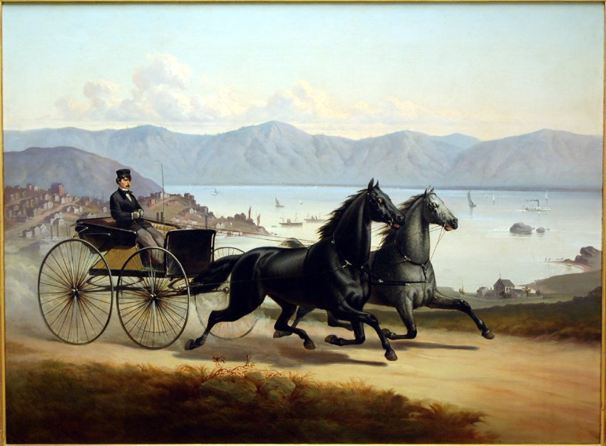 William Ralston Driving His Two-Horse Buggy, Thomas Hill, oil on canvas, 1867