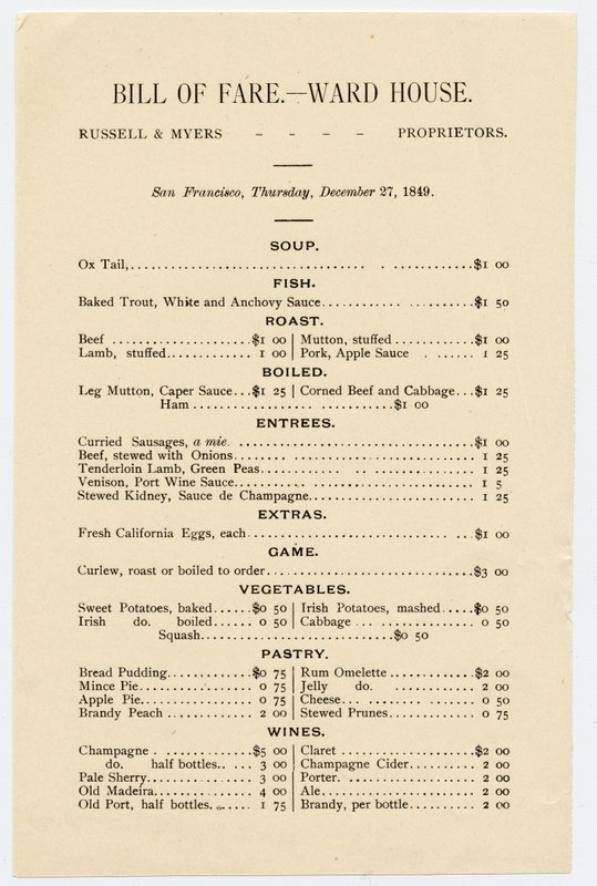 Ward House.Bill of Fare C057690