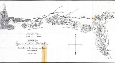 Mason, Richard B.  Positions of the Upper and Lower Gold Mines    on the American River, California Washington: July 20th, 1848   This map accompanied the message from Polk announcing the discovery of gold – making it  one of the earliest maps of the gold regions.
