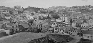 Eadweard Muybridge, Panorama of San Francisco, from California Street Hill, 1877 Albumen silver print from wet – collodion glass plate negative.