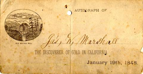 Calling card Autograph of Jas. W. Marshall, Jan. 19th, 1848
