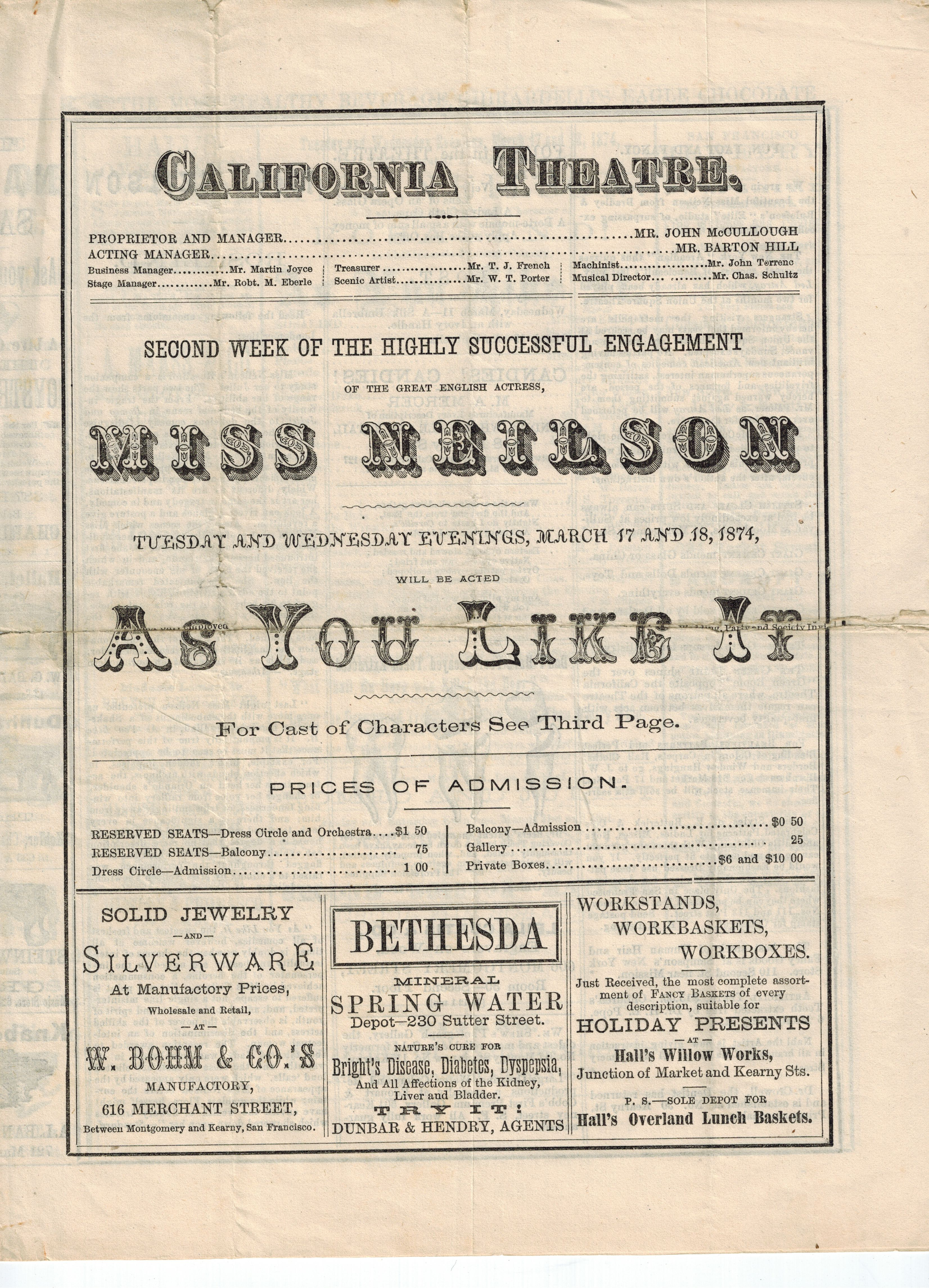 Shakespeare in 19th Century San Francisco | The Society of